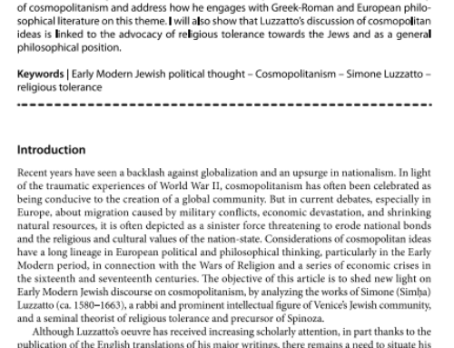 """Vasileios Syros, """"Cosmopolitan Ideas in Early Modern Europe and the Jewish Tradition,"""" Czech and Slovak Journal of Humanities: Philosophica 2 (2020): 56–67"""