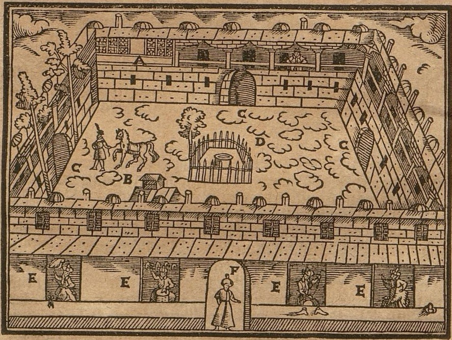 Fig. 1: The imperial embassy in Istanbul depicted by the chaplain to the embassy, Salomon Schweigger. ©Bayerische Staatsbibliothek München, 999/4Hist.pol.97g, S. 52, urn:nbn:de:bvb:12-bsb11062310-4.